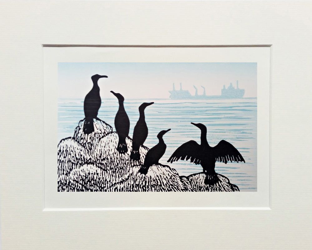 Hand Printed Colour Limited Edition Linocut of Cormorants