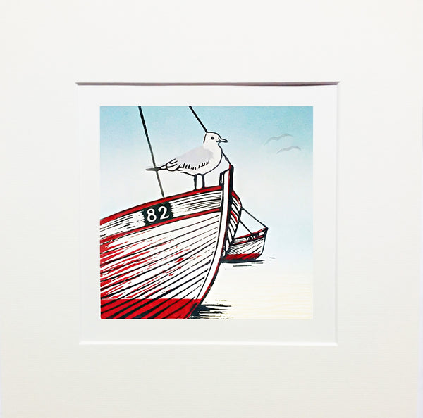 Mounted Limited Edition Colour Linocut of Beached Boats