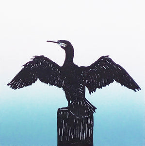 Hand Printed Colour Linocut of Cormorant