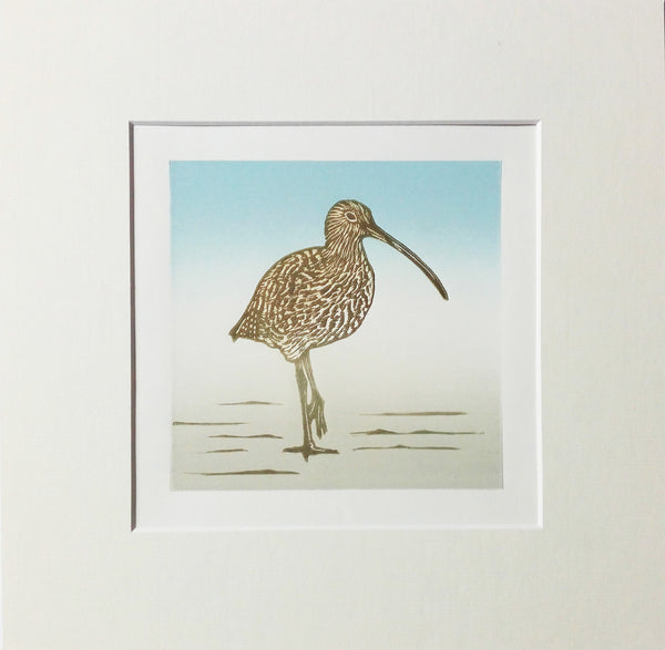 Mounted Hand Printed Colour Linocut of Curlew
