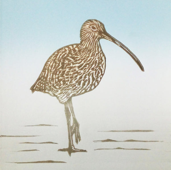Hand Printed Colour Linocut of Curlew