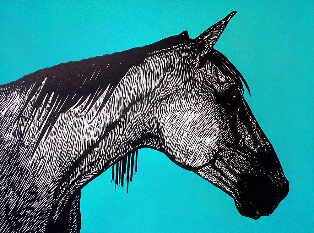 Hand printed limited edition linocut of horse profile using black ink on a vibrant blue ink background