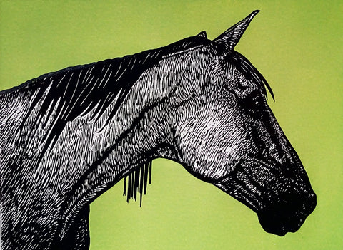 Hand printed limited edition linocut of horse profile using black ink on a vibrant green ink background