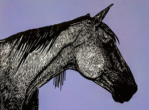 Hand printed limited edition linocut of horse profile using black ink on a vibrant mauve ink background