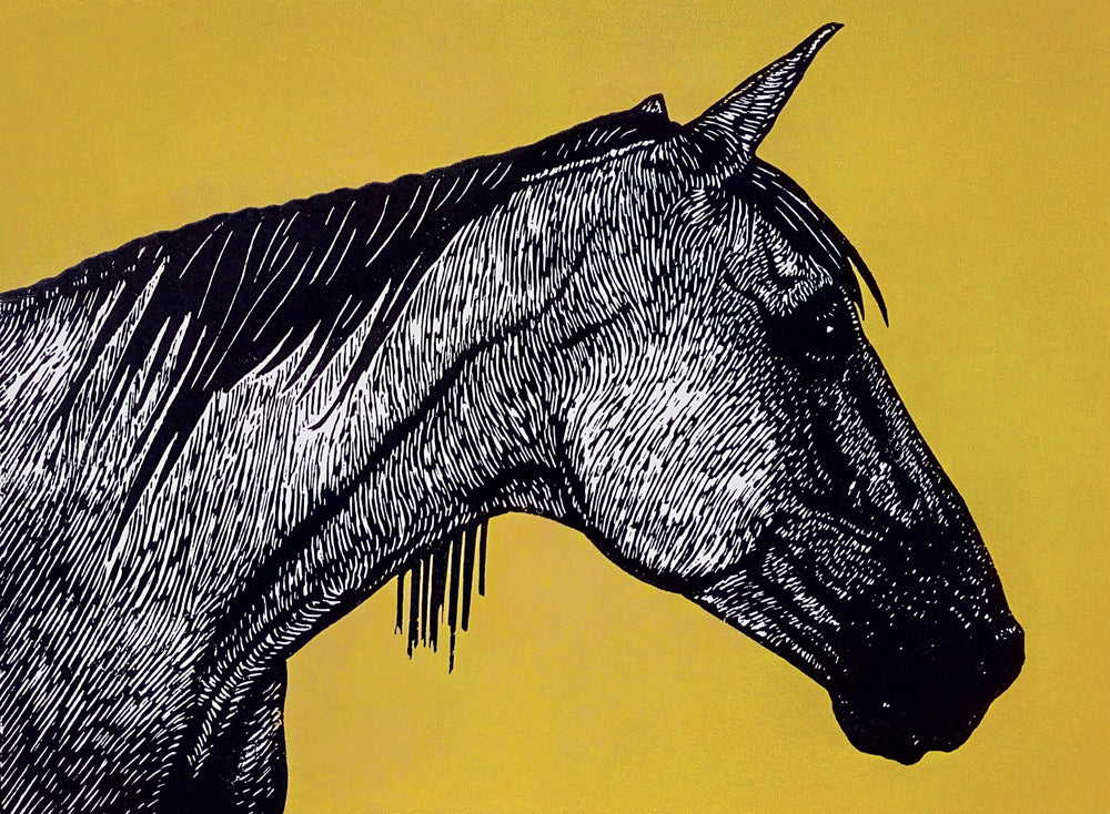 Hand printed limited edition linocut of horse profile using black ink on a vibrant ochre ink background