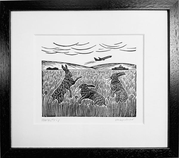 Framed Hand Printed Black and White Linocut of Hares