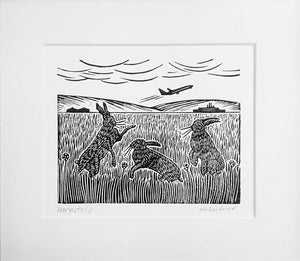 Mounted Hand Printed Black and White Linocut of Hares