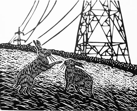 Hand Printed Black and White Linocut of Hares