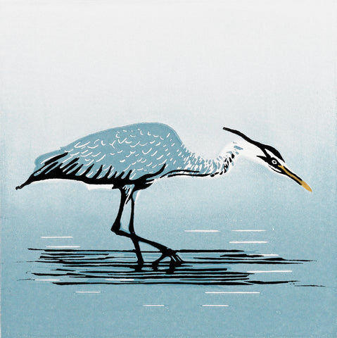 Hand Printed Colour Linocut of Heron
