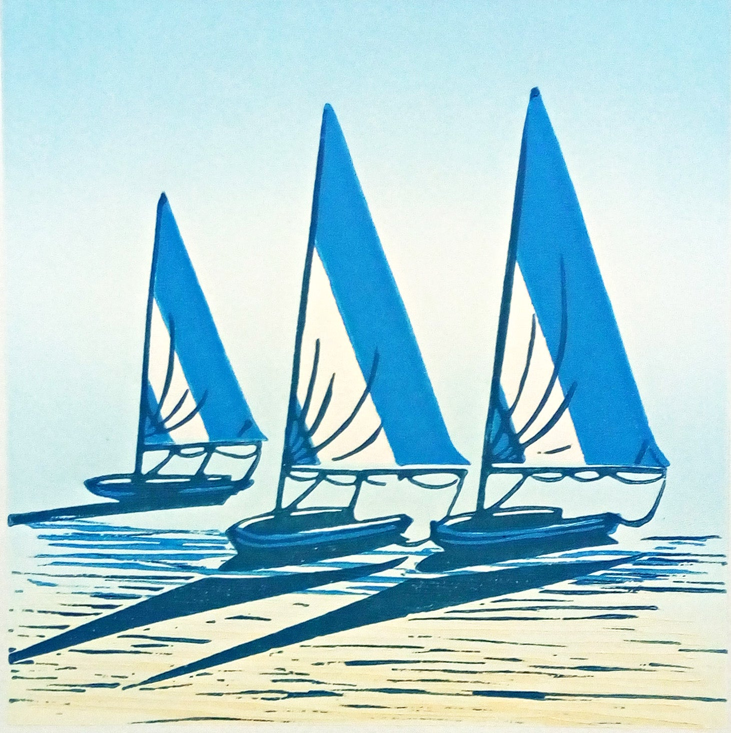 Hand Printed Limited Edition Colour Linocut of Boats