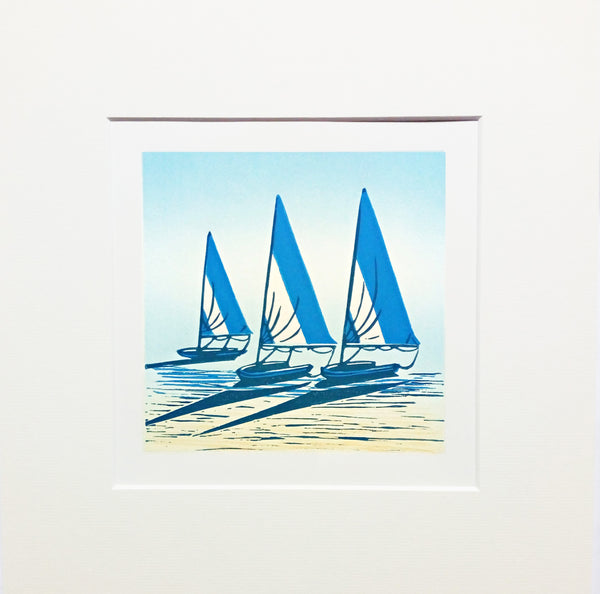 Mounted Hand Printed Limited Edition Colour Linocut of Boats