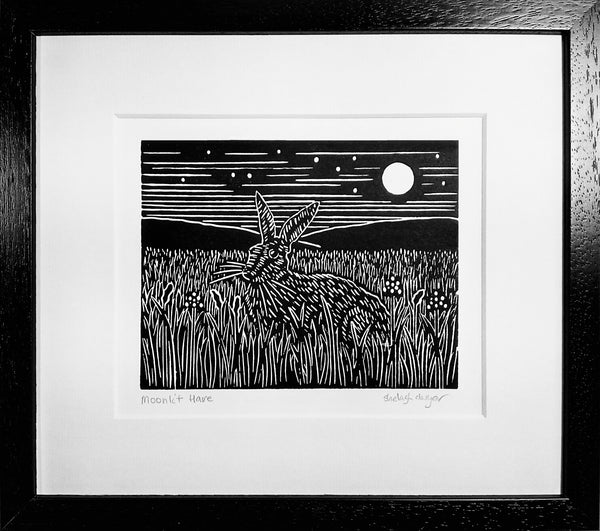 Framed Hand Printed Black and White Linocut of Moonlit Hare