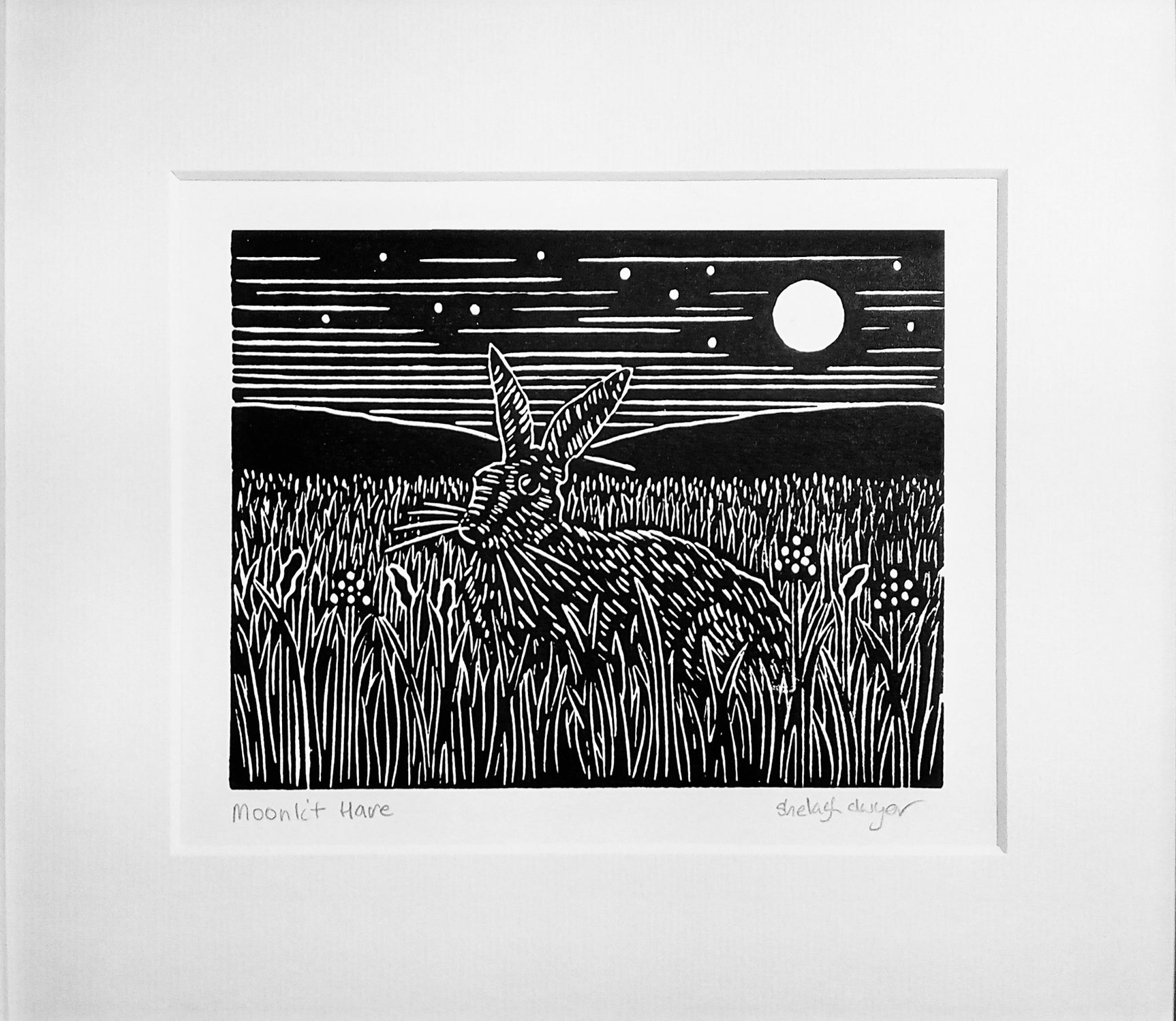 Mounted Hand Printed Black and White Linocut of Moonlit Hare