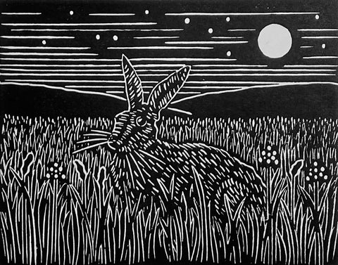 Hand Printed Black and White Linocut of Moonlit Hare