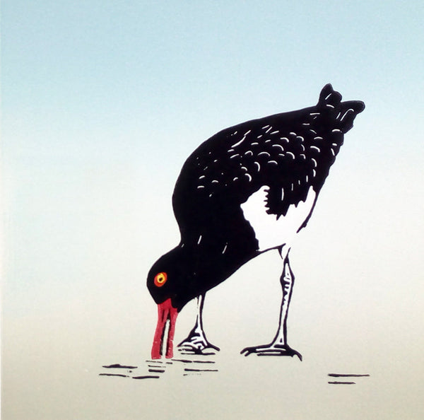 Hand Printed Colour Linocut of Oystercatcher