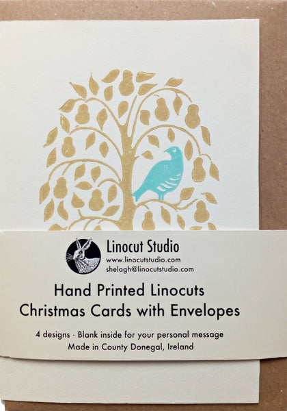 Four designs derived from the Twelve Days of Christmas. 4 Calling Birds, 3 French Hens, 2 Turtle Doves and a Partridge in a Pear Tree. Hand printed onto sustainably sourced quality card with a recycled paper envelope.  Size A6. Blank inside for your personal message.