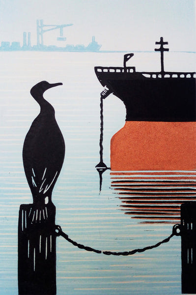 Hand Printed Colour Limited Edition Linocut of Cormorant