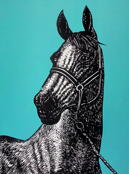 Hand printed limited edition linocut portrait of a thoroughbred horse using black ink on a vibrant blue ink background