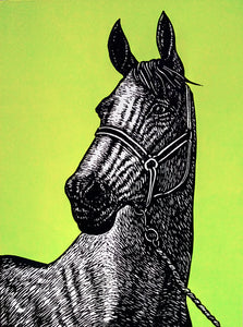 Hand printed limited edition linocut portrait of a thoroughbred horse using black ink on a vibrant green ink background