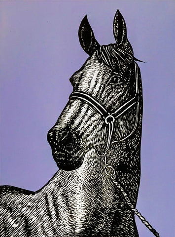 Hand printed limited edition linocut portrait of a thoroughbred horse using black ink on a vibrant mauve ink background