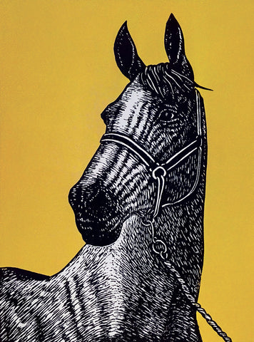 Hand printed limited edition linocut portrait of a thoroughbred horse using black ink on a vibrant ochre ink background