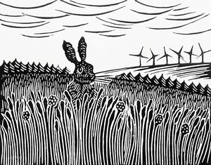 Hand Printed Black and White Linocut of Hare