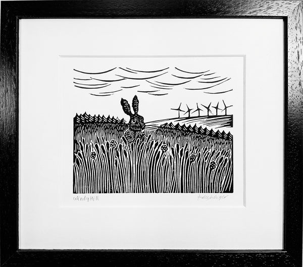Framed Hand Printed Black and White Linocut of Hare