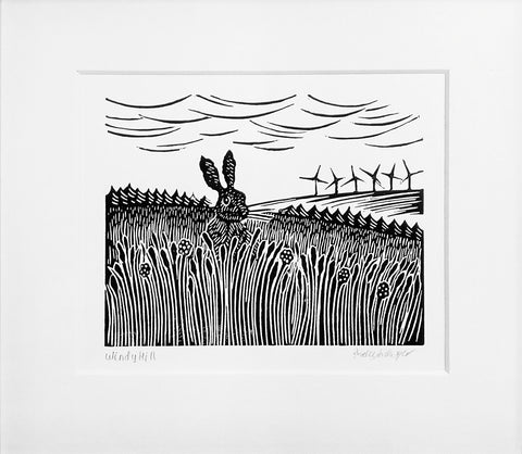 Mounted Hand Printed Black and White Linocut of Hare