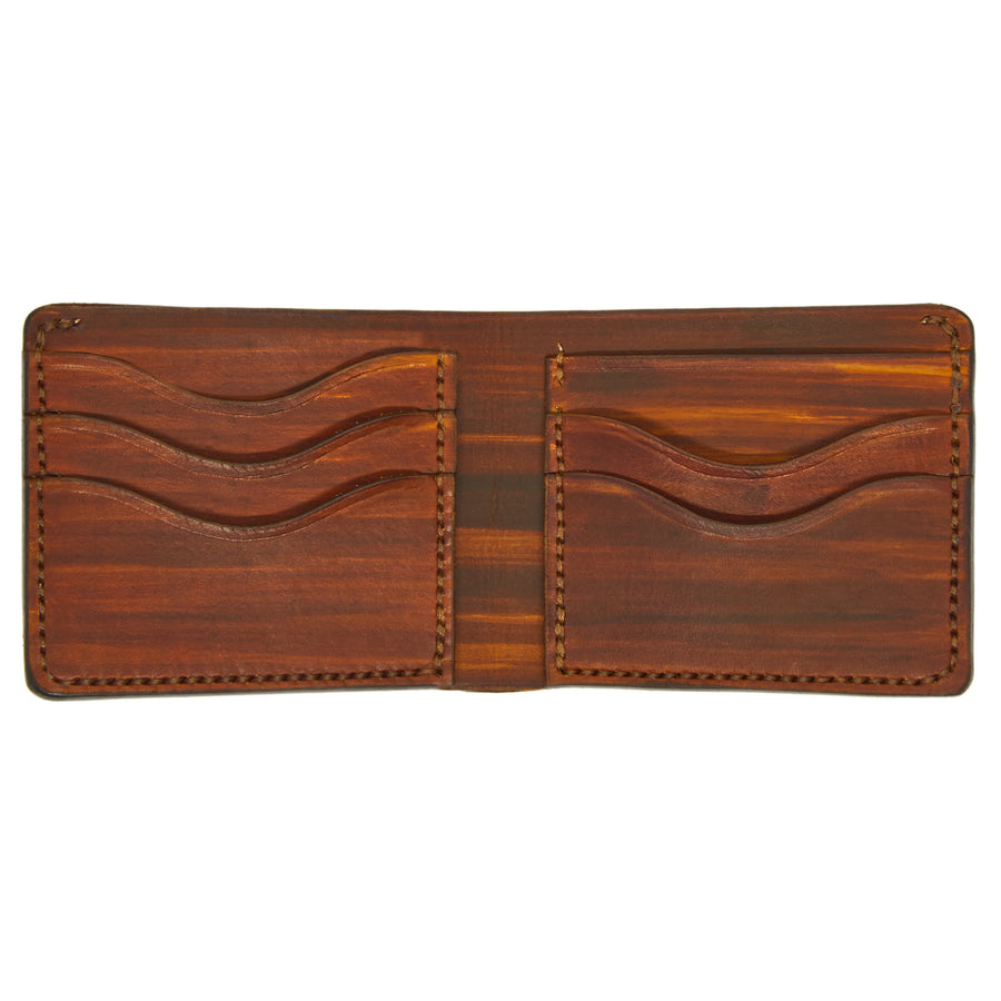 No. 7 - MEDIUM BROWN Leather Bill Fold Wallet - Handstitched