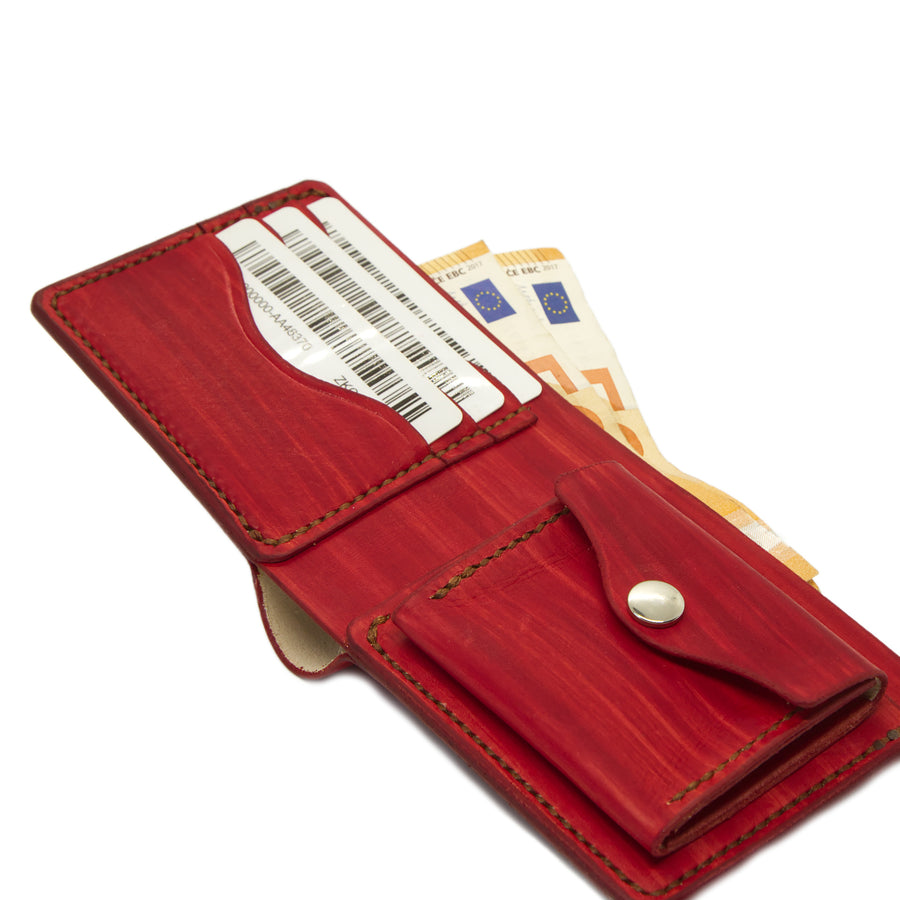 No. 7 - RED Leather Bill Fold Wallet - Handstitched