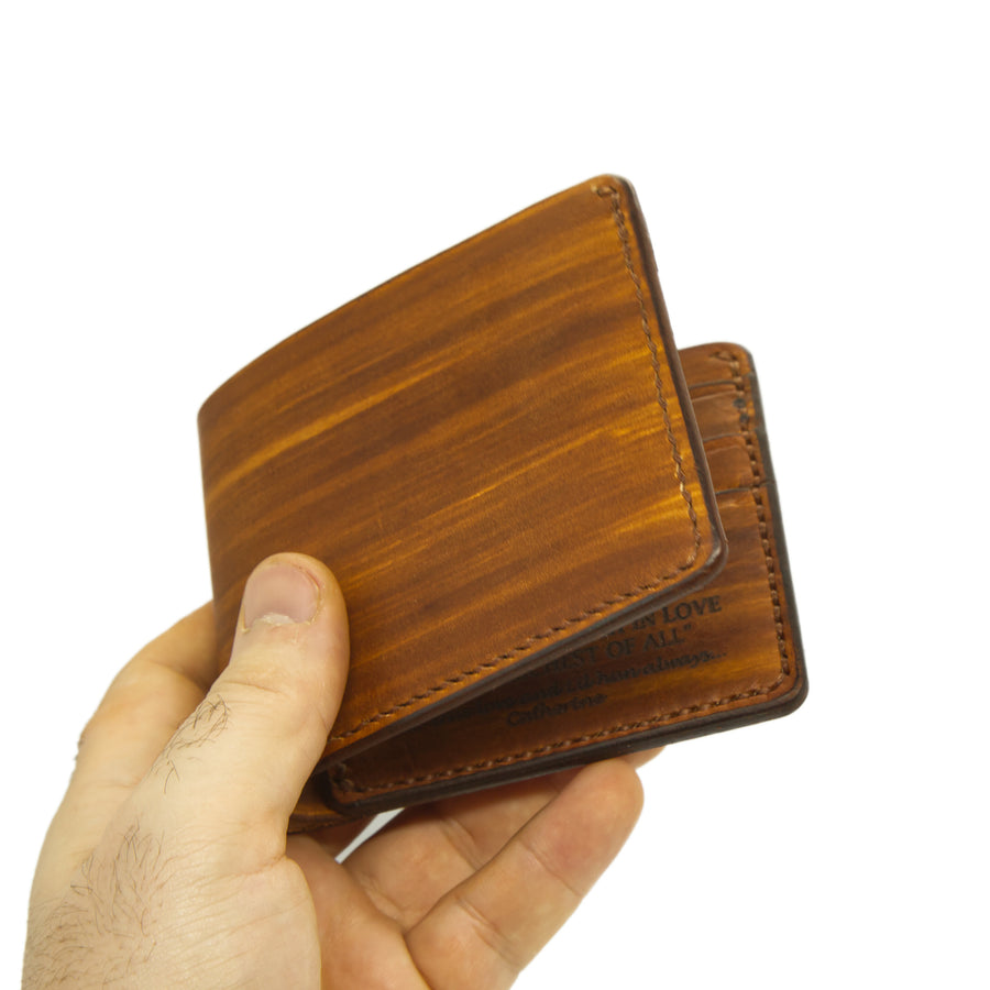 No. 7 - GOLDEN BROWN Leather Bill Fold Wallet - Handstitched