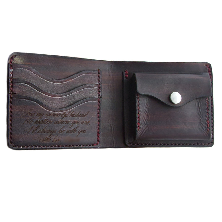 No. 7 - CORDOVAN Leather Bill Fold Wallet - Handstitched