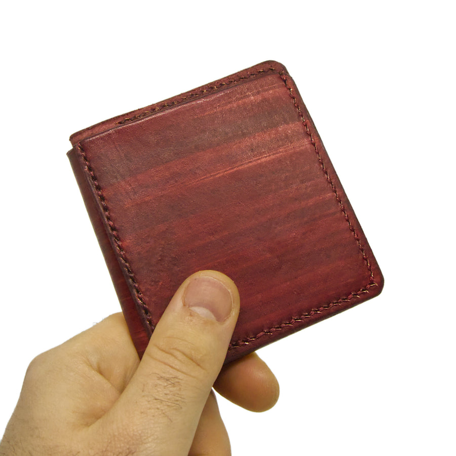 No. 11 - BURGUNDY Leather Wallet - Handstitched