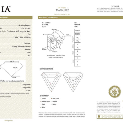 1.06 Carat SHIELD Shape BROWN Color Diamond - VMK Diamonds