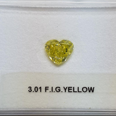 3.01 Carat HEART Shape YELLOW Color Diamond - VMK Diamonds
