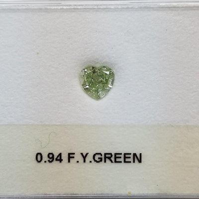 0.94 Carat HEART Shape GREEN Color Diamond - VMK Diamonds