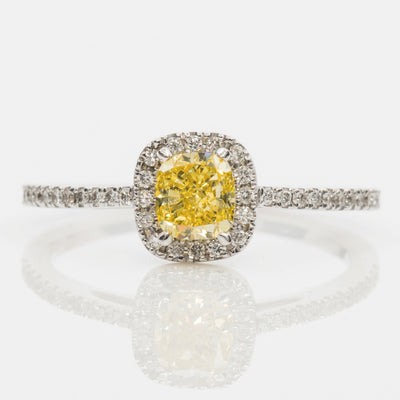 YELLOW Color Diamond Ring (0.82 Carat)