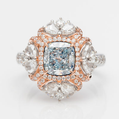 BLUE Color Diamond Ring (3.48 Carat) - VMK Diamonds
