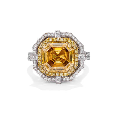 YELLOW Color Diamond Ring (4.92 Carat) - VMK Diamonds