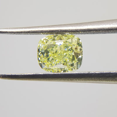 0.91 Carat CUSHION Shape YELLOW Color Diamond - VMK Diamonds