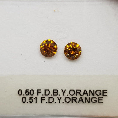 0.51 Carat ROUND Shape ORANGE Color Diamond