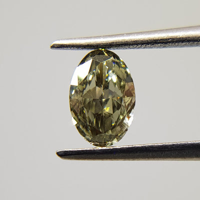 0.50 Carat OVAL Shape GREEN CHAMELEON Color Diamond
