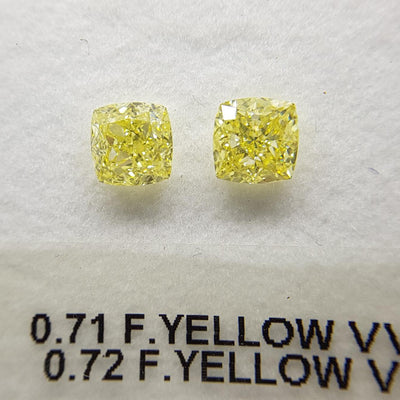 0.71 Carat CUSHION Shape YELLOW Color Diamond - VMK Diamonds