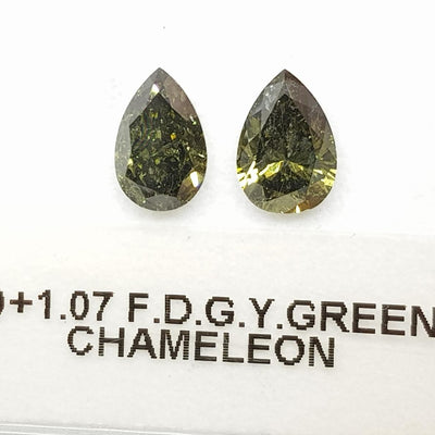 1.00 Carat PEAR Shape GREEN CHAMELEON Color Diamond - VMK Diamonds
