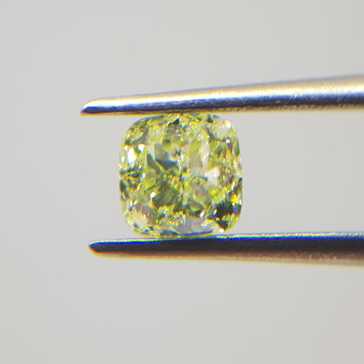 0.59 Carat CUSHION Shape YELLOW Color Diamond - VMK Diamonds
