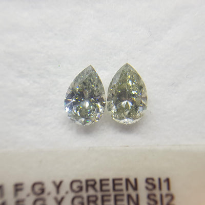0.74 Carat PEAR Shape GREEN CHAMELEON Color Diamond