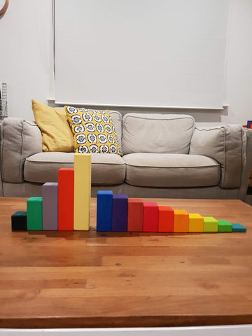 Large Stepped Counting Blocks vs. Large Stepped Pyramid