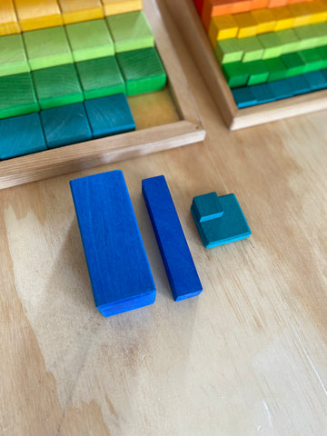 Grimm's large and small stepped counting blocks