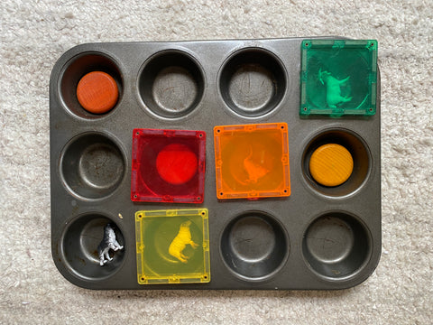 Connetix Tiles on muffin tin invitation to play