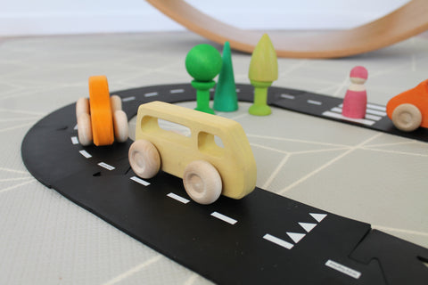 Waytoplay roads with grimm's wooden toys slimline cars little toy tribe